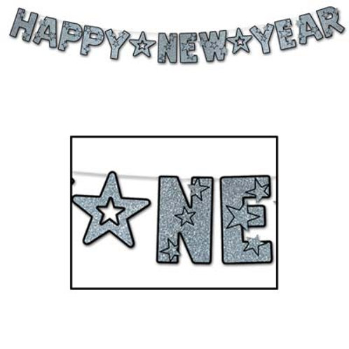 Black and Silver Happy New Year Banner