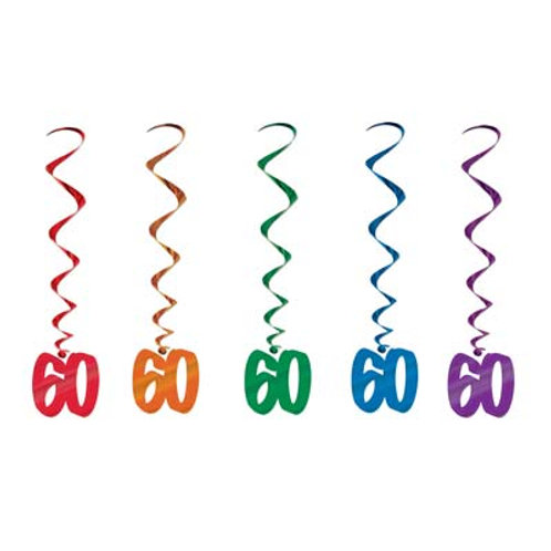 60th Birthday Hanging Swirls 5 Pc