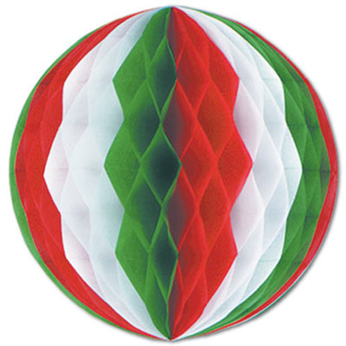 """Red, White and Green Tissue Ball 14"""""""