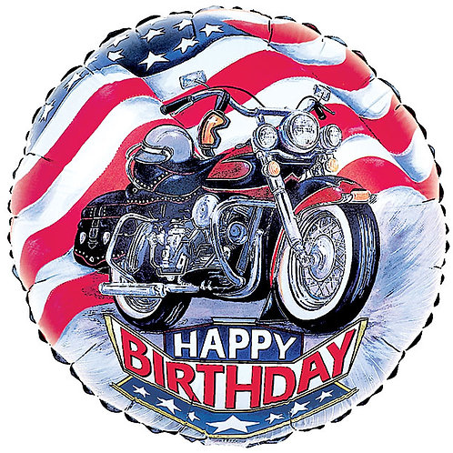 "Balloon Foil 18"" Happy Birthday Motorcycle"