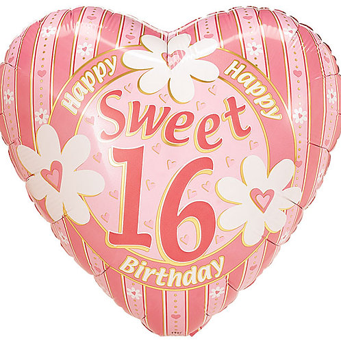 "Balloon Foil 18"" Sweet 16 Heart Shape"