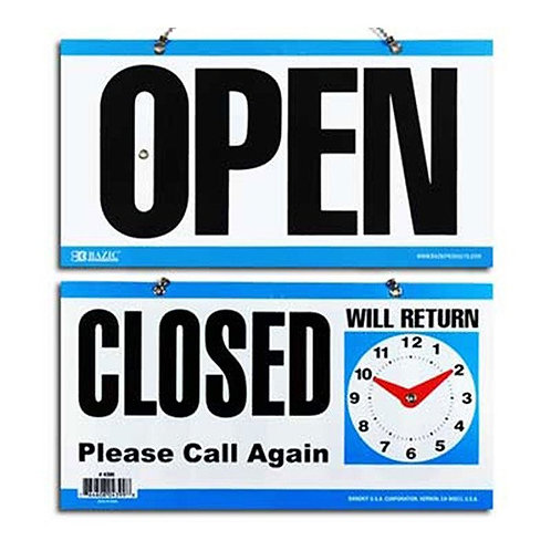 """6"""" x 11.5 """" """"CLOSED"""" Clock Sign with """"OPEN"""" Sign on back"""