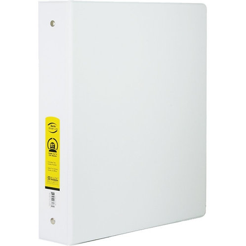 "1"" White 3-Ring Binder with 2 Pockets"