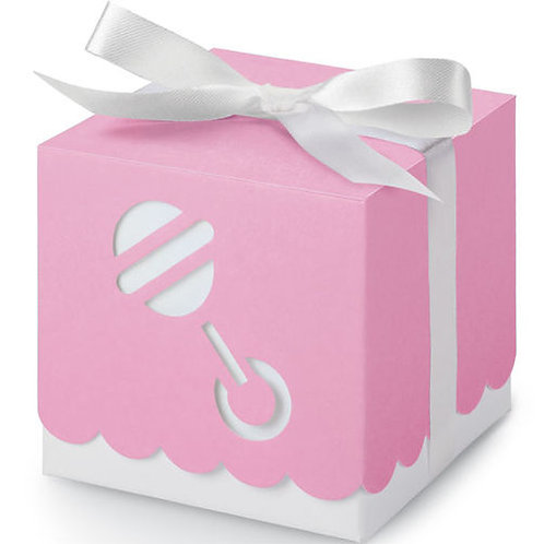 Square Box Rattle Pink 25Ct