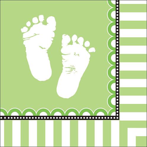 Sweet Baby Feet - Green Luncheon Napkin (16Ct)