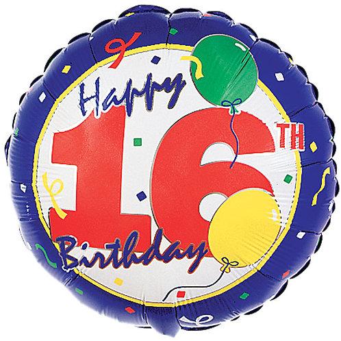 "Balloon Foil 18"" Happy Birthday 16Th"