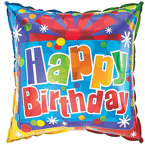"Balloon Foil 18"" Square Happy Birthday"