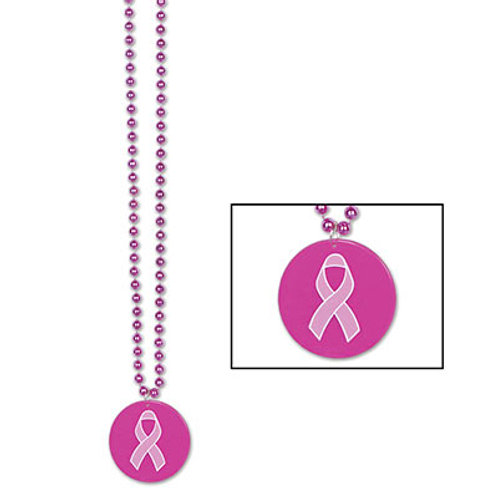 Pink Ribbon Beaded Necklace and Medallion