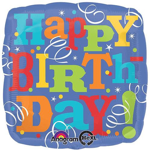 "Balloon Foil 17"" Happy Birthday"