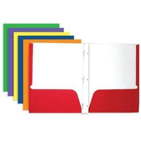 Assorted Color 2-Pockets Portfolios with 3-Prong Fastener