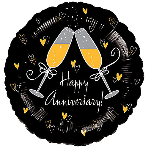 "Balloon Foil 18"" Happy Anniversary Champagne"