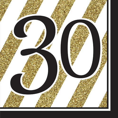 Black & Gold Birthday Luncheon Nap (16Ct) - 30Th Birthday