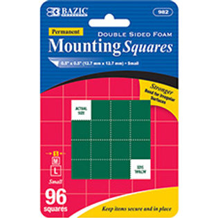 """0.5"""" Double Sided Foam Mounting Squares (96/Pack)"""
