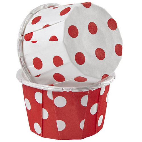 Bake Cup Dots Red & White 24C