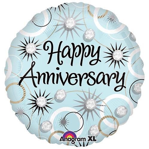 "Balloon Foil 18"" Happy Anniversary Diamonds"
