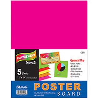 "11"" x 14"" Multicolor Fluorescent Poster Board (5/Pack)"