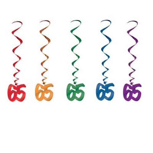 65th Birthday Hanging Swirls 5 Pc