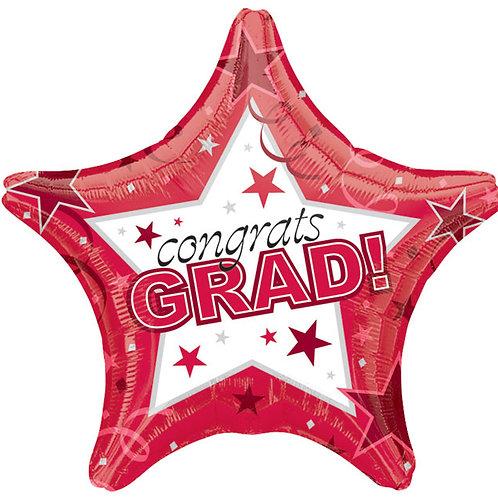 """Balloon 19"""" Congrats Grad Red"""