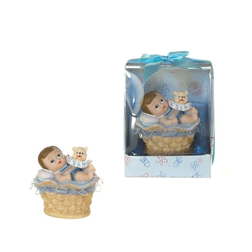 Favor Baby In Basket Blue