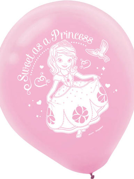 Sofia The First Latex Balloon (6Ct)