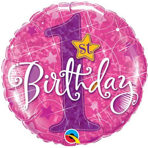 "Balloon Foil 18"" 1st Birthday Pink"