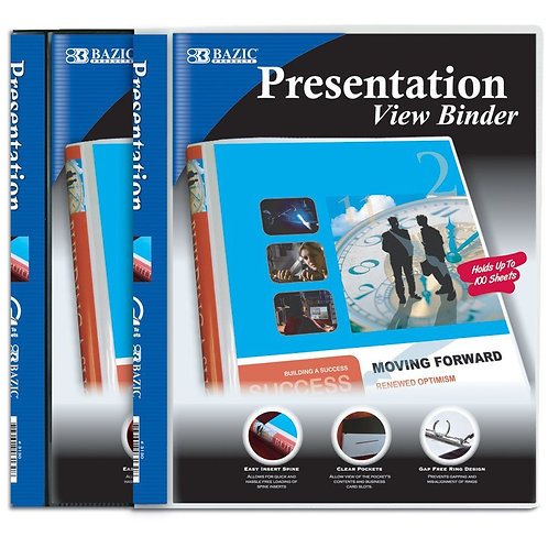"1/2"" Poly 3 Ring Presentation View Binder with Pocket"