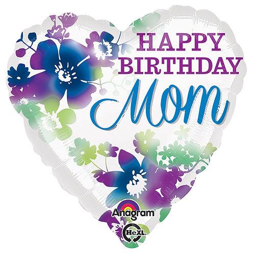 "Balloon Foil 18"" Happy Birthday Mom Heart"