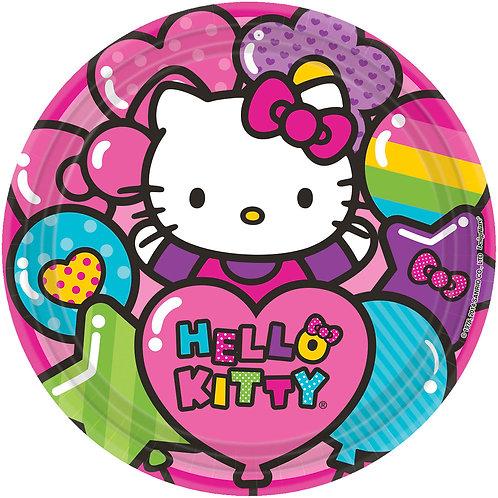 """Hello Kitty Rainbow 9"""" Round Plates"""