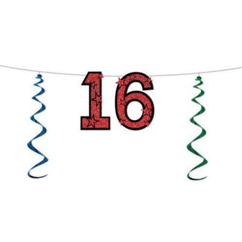 16th Birthday Glitter Streamer