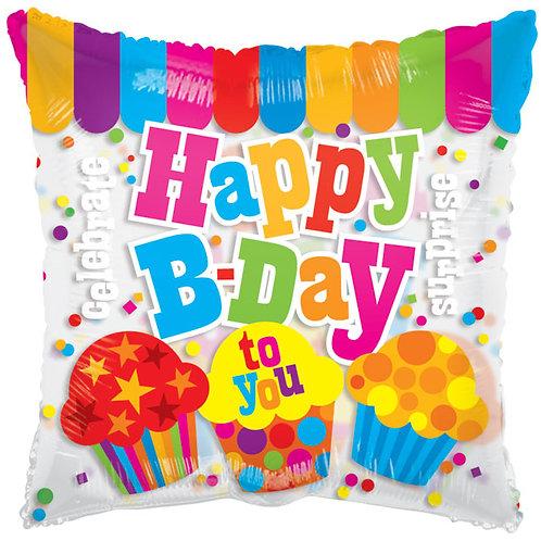 "Balloon Foil 18"" Happy Birthday Cupcake"