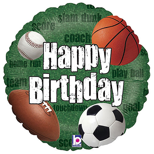"Balloon Foil 18"" Happy Birthday Sports"