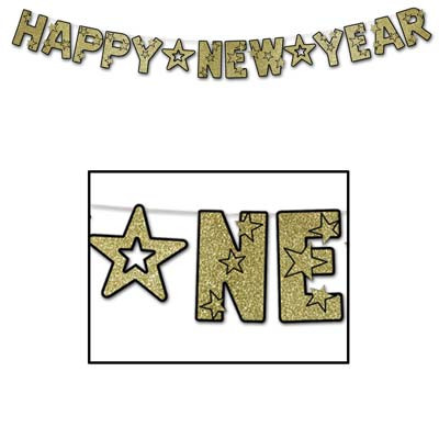 gold glitter happy new year banner