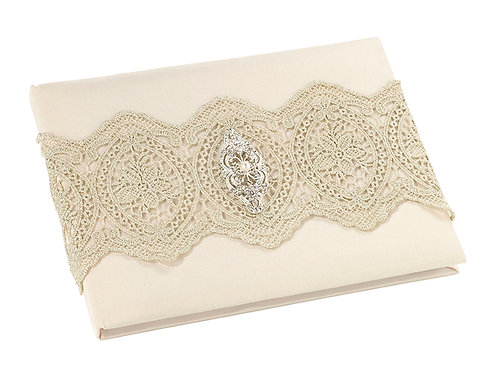 Wedding Guest Book Gold Lace