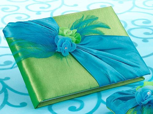 Guestbook Blue/Green Flower