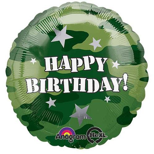 "Balloon Foil 18"" Happy Birthday Camo"
