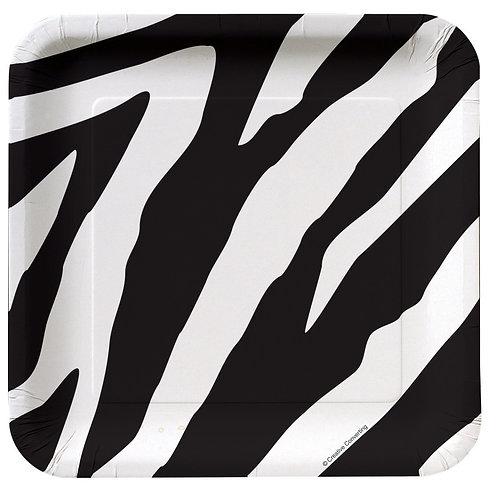"Animal Print Zebra Luncheon Plate 7"" (8Ct) Sq"