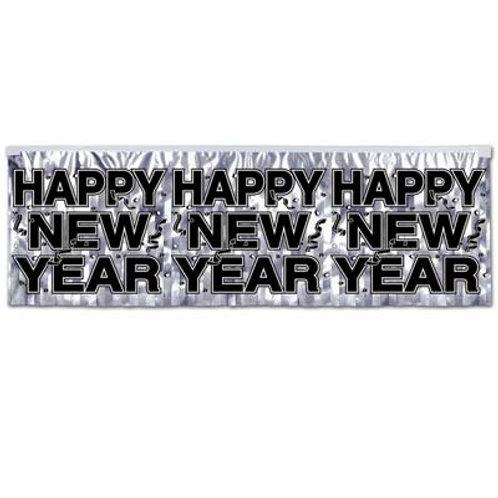 Metallic Silver Happy New Year Banner