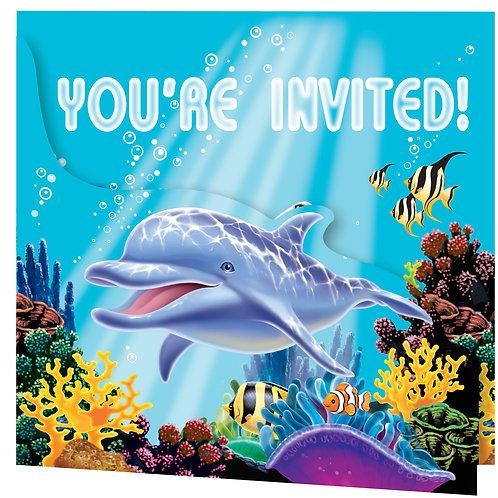 Ocean Party Invitation, Diecut Gatefold (8Ct)