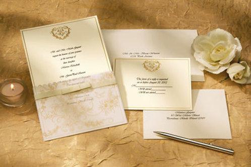 Wedding Toile Invite Gold 25Ct