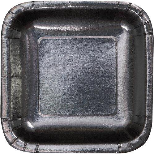 """Glitz Black Luncheon Plate 7"""" (8ct) Square"""