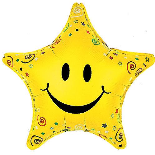 "Balloon Foil 22"" Smiley Star"