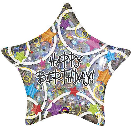 """Balloon Foil 19"""" Happy Birthday Star & Spirals"""