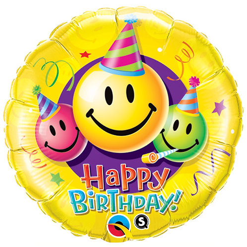 "Balloon Foil 18"" Happy Birthday Smiley"
