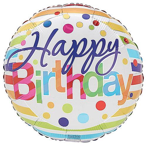 """Balloon 9"""" Birthday Stripes"""