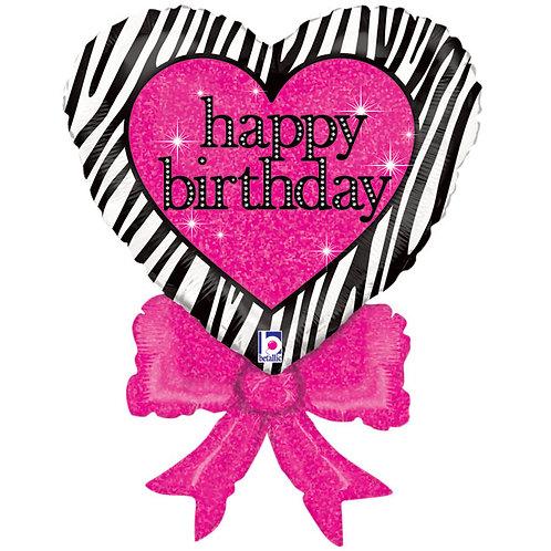 "Balloon 30"" Zebra Heart Bow"