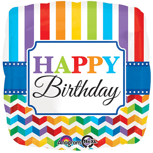 "Balloon Foil 17"" Happy Birthday Bright"