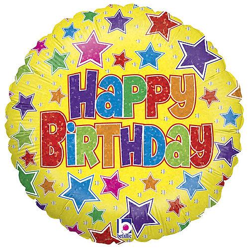 "Balloon 18"" Foil Happy Birthday Stars"