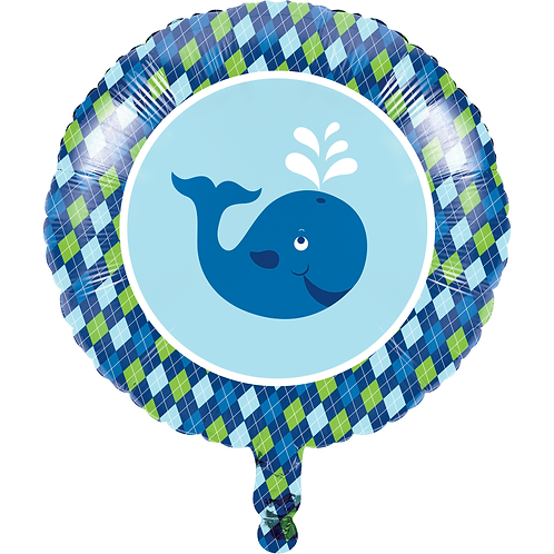 Ocean Preppy 1st Birthday Metallic Balloon 18""
