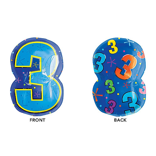 "Balloon Foil 20"" Number 3 Multicolor"