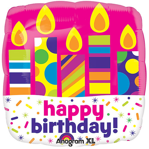 """Balloon Foil 21"""" Happy Birthday Candles"""